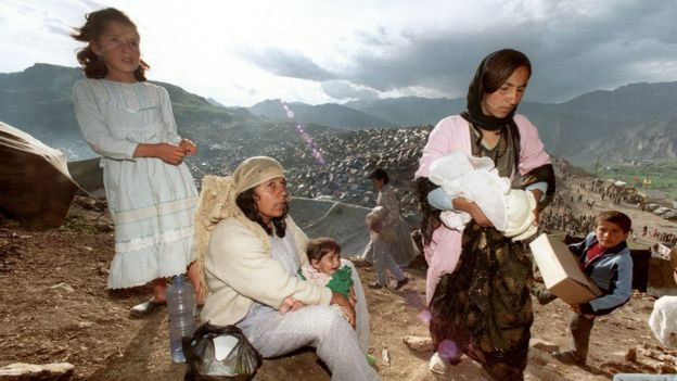 Iraqi Kurdish refugees take shelter at a refugee camp in south-eastern Turkey after fleeing fighting between Iraqi government forces and Peshmerga in May 1991