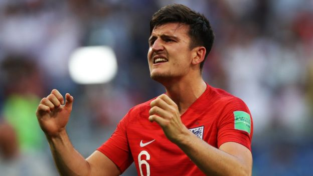 Harry Maguire playing for England at the 2018 World Cup