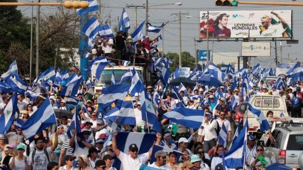 Manifestación antigubernamental en Nicaragua.