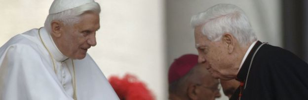 Former Archbishop of Boston, Cardinal Bernard Law, greets Pope Benedict XVI in Vatican City, 7 June 2006