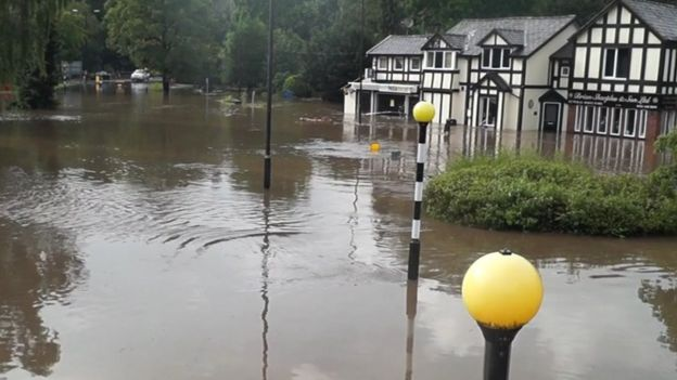 Flooding in Bramhall, Stockport