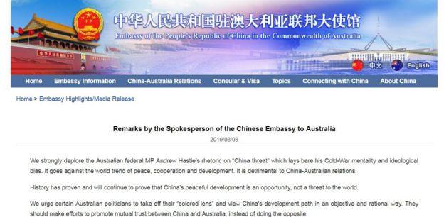 中国大使馆声明网络截图