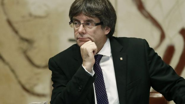 Catalan regional President Carles Puigdemont chairs the Catalan Government