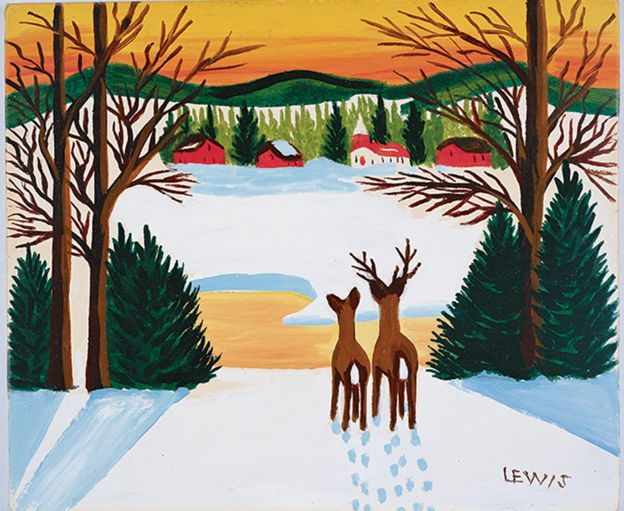 Painting of deer in winter by Maud Lewis.