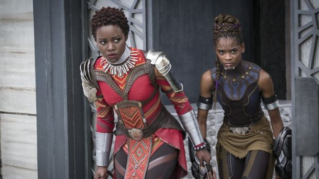 L to R: Nakia (Lupita Nyong'o) and Shuri (Letitia Wright)