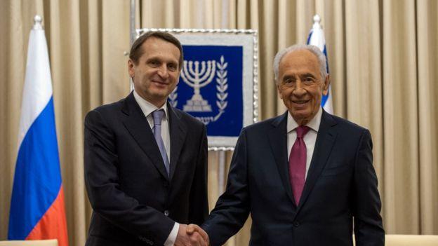 Narishkin (i), durante una visita a Israel en 2014.