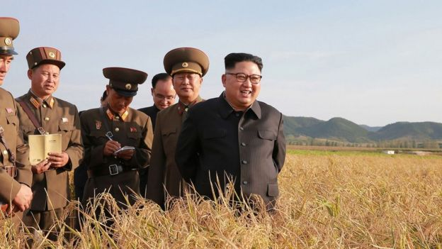 North Korean leader Kim Jong-Un (R) visiting Farm No. 1116