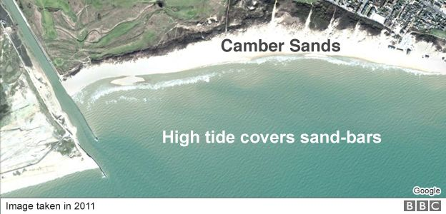 Image of Camber Sands beach at high tide
