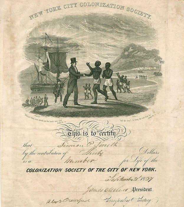 Certificado de la Sociedad Neoyorkina de Colonización