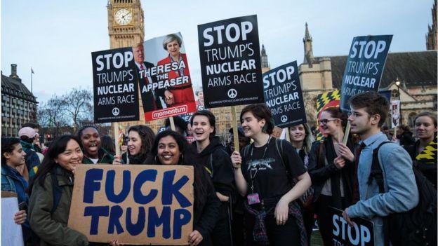 Biểu tình ở London phản đối chuyến thăm của Tổng thống Trump tới Anh