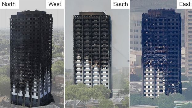 Images show fire damage around the tower block