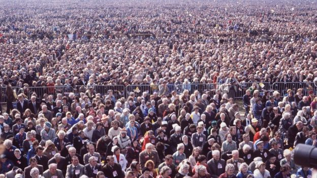 Crowds who came to see Pope John Paul II in Ireland in 1979