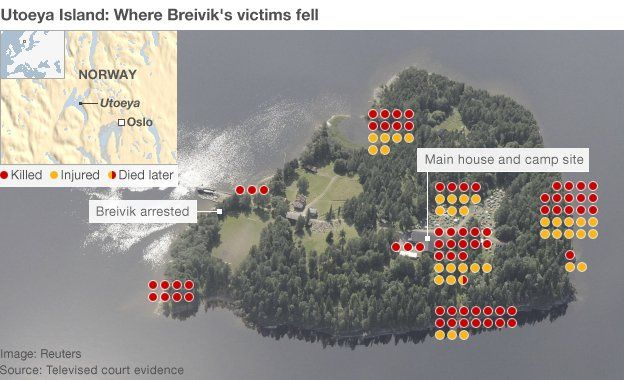 Map of the island shootings