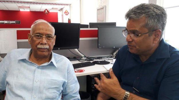 बीबीसी स्टूडियो में वरिष्ठ पत्रकार बी. एन. उनियाल के साथ रेहान फ़ज़ल