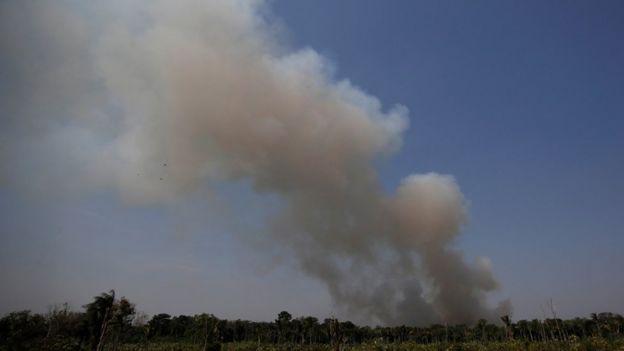 Fumaça na mata na região de Humaitá (AM)