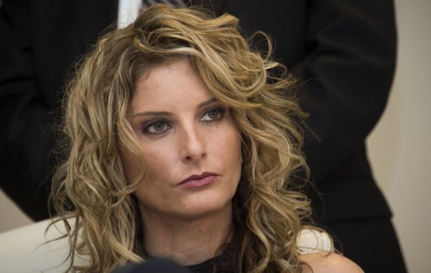Summer Zervos at a press conference to announce the filing of a lawsuit against President-elect Donald Trump, in Los Angeles, California, on 17 January 2017
