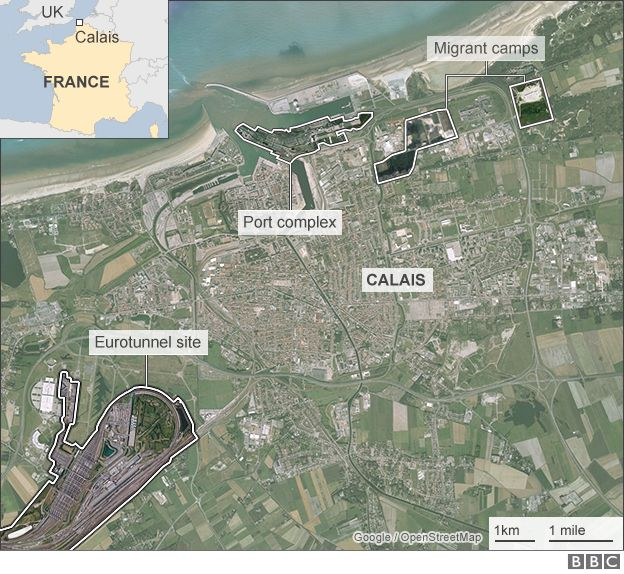 Map showing location of migrant camps in Calais