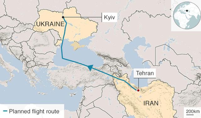 Map of Ukraine crash site
