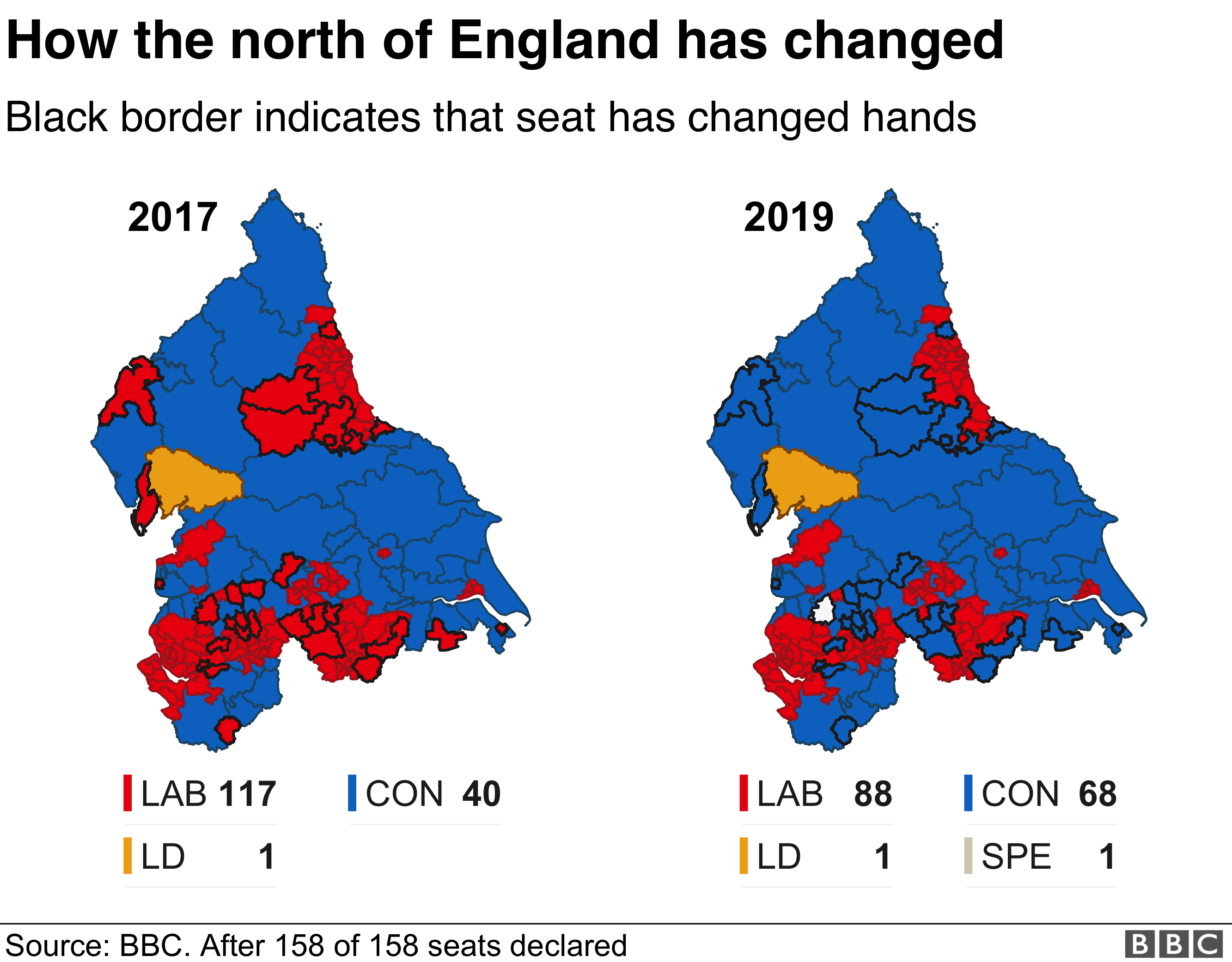 BBC north of England election results map