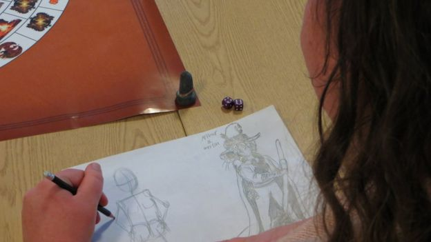 One of the characters drawing characters