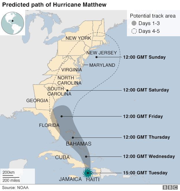 Map showing predicted path of Hurricane Matthew