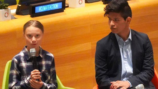 Greta Thunberg junto a Bruno Rodríguez