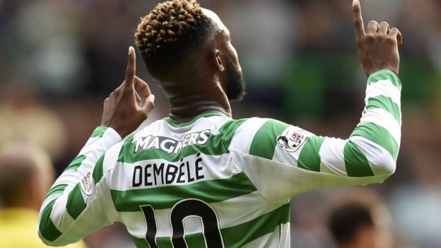Moussa Dembele celebrates a Celtic goal