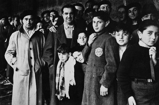 This file photo taken in 1942 shows Jewish deportees in the Drancy transit camp, their last stop before the German concentration camps