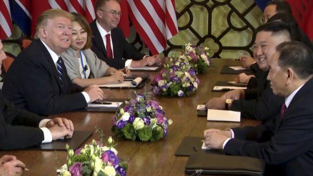 Mr Trump and Mr Kim during their talks
