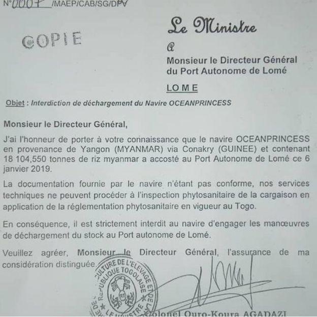 Une note du ministre de l'Agriculture adressée au directeur du port de Lomé