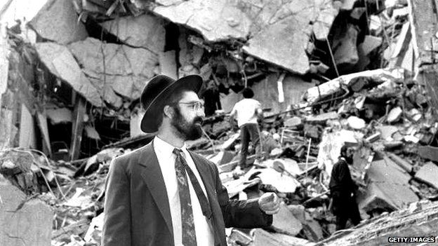 Aftermath of 1994 bomb at Jewish community centre in Buenos Aires