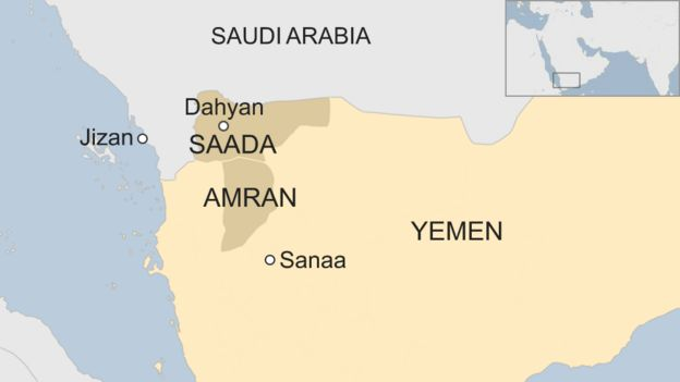 Map of Yemen showing location of Dahyan, Saada province