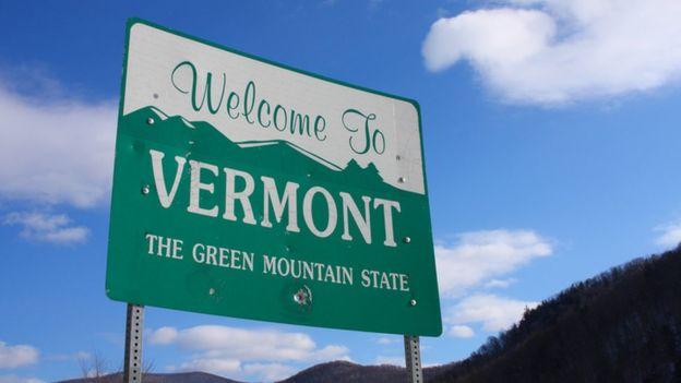Placa de bem-vindo a Vermont