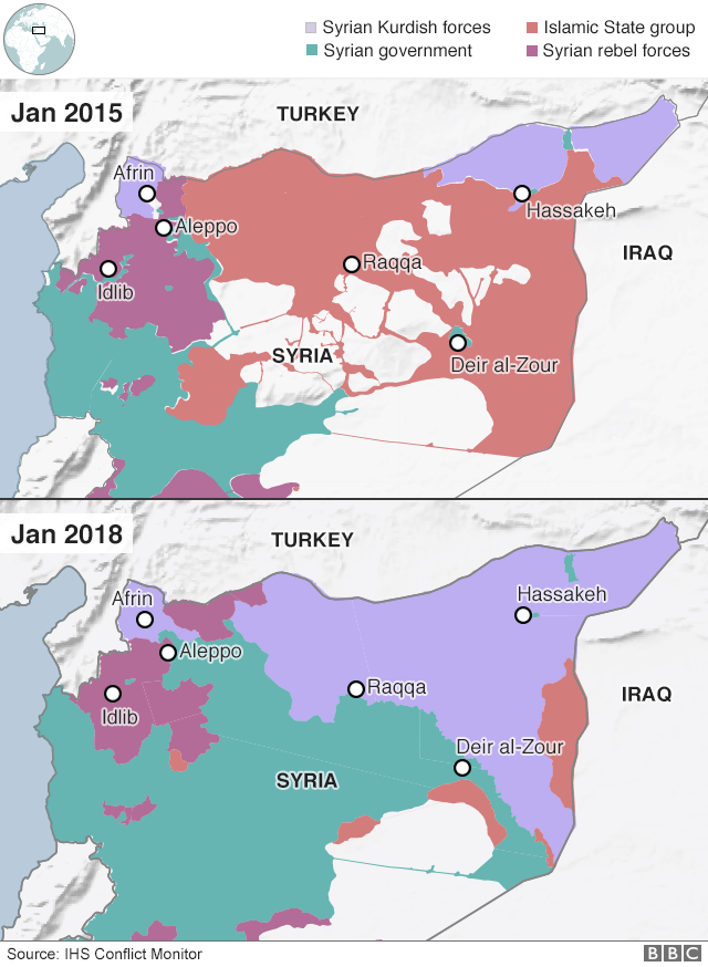Map showing changes in control of Iraq and Syria between January 2015 and January 2018