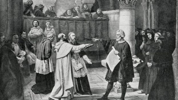 Pintura sobre Galileo Galilei, juzgado por la Inquisición en 1633.