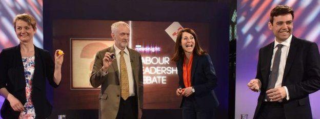 Labour leadership candidates (l-r): Yvette Cooper, Jeremy Corbyn, Liz Kendall, Andy Burnham