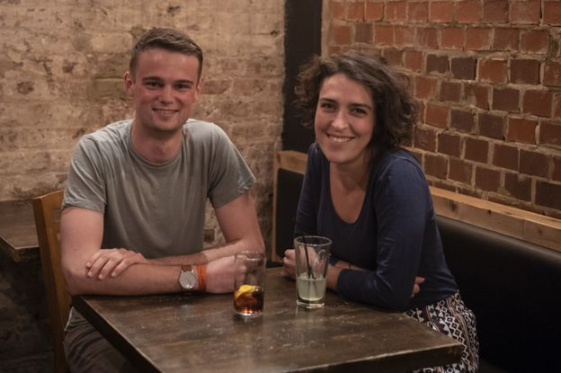 Will and Cristina in the cafe where they first reunited following the terror attack