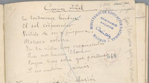 Un fragmento del manuscrito de