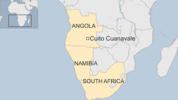 Map of Angola and South Africa