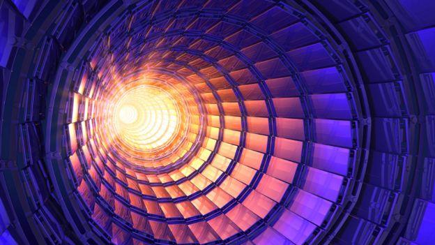 Ilustración que muestra un túnel de un acelerador de partículas