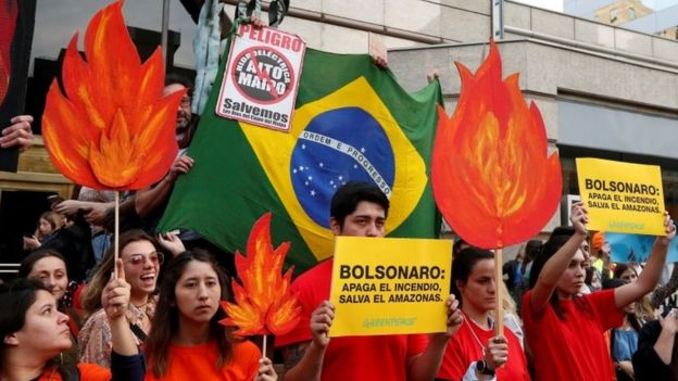 Demonstrators of environmental organizations take part in a rally in front to the embassy of Brazil in demand to more Amazon protection in Santiago, Chile