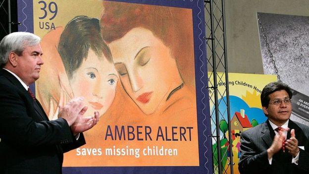 Un timbre postal de la Alerta AMBER