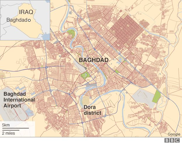 Map of Baghdad showing locations of Dora district and international airport