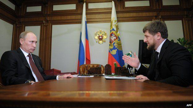 Chechen leader Ramzan Kadyrov (right) with President Vladimir Putin, file pic