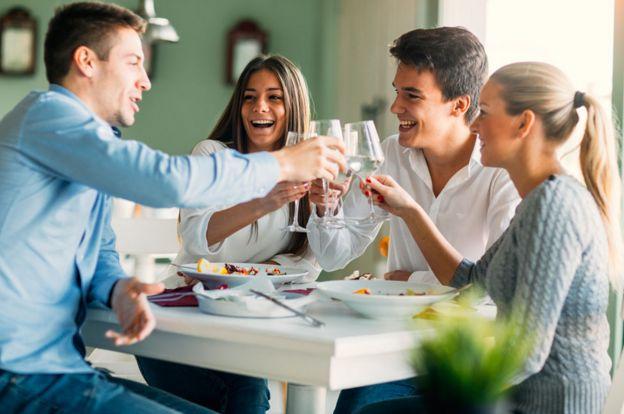 Friends having dinner in a restaurant