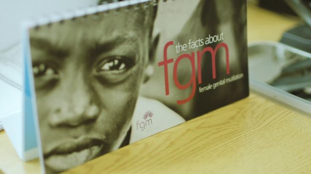 Poster saying 'facts about FGM'