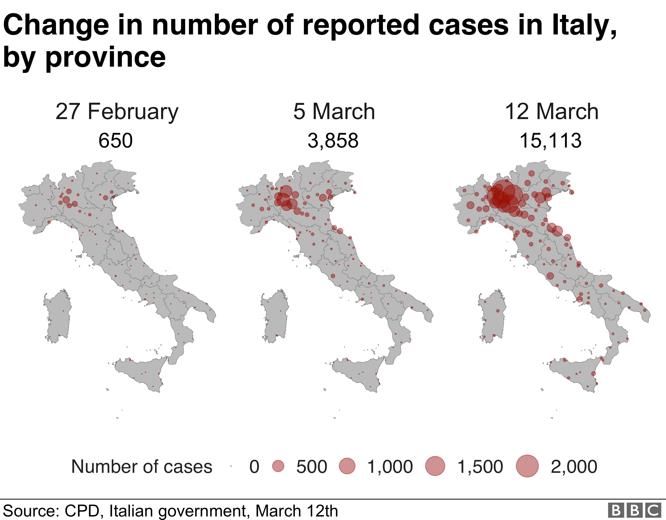 Maps showing intensity of cases by place, across Italy on 27 Feb, 5 March and 12 March