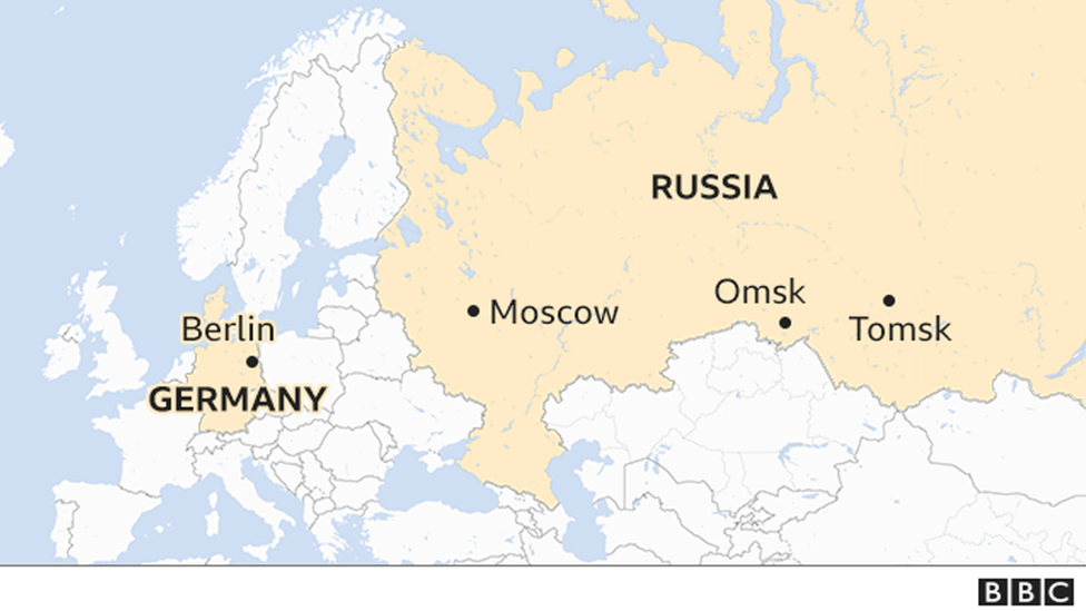 A map shows key locations in the Navalny case