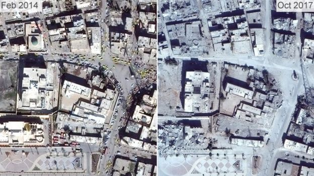 Pictures from 2014 and 2017 show the destruction of Raqqa's clock tower roundabout