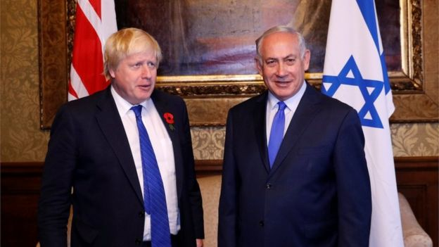 Boris Johnson and Benjamin Netanyahu in London